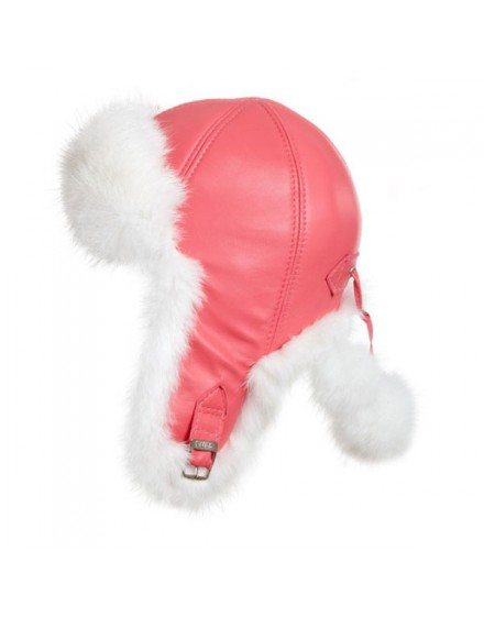 Skórzana czapka Julka Kid- Różowy