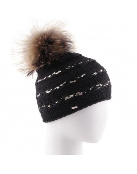 Dzianinowa czapka Miracle- czarny