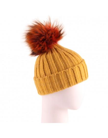 Dzianinowa czapka Evelin- żółty