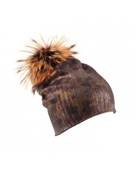 Dzianinowa czapka Magic- złoty
