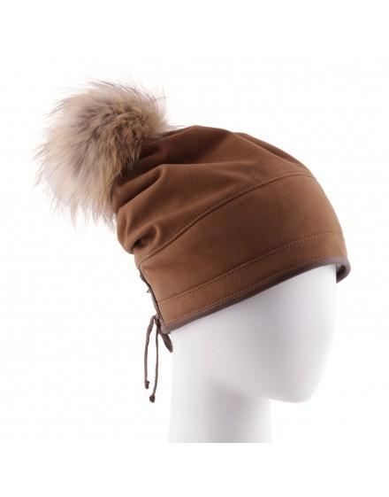 Skórzana czapka Iga Fox- Rudy