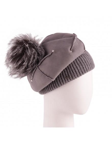 Skórzana czapka Wilga Pom- Szary