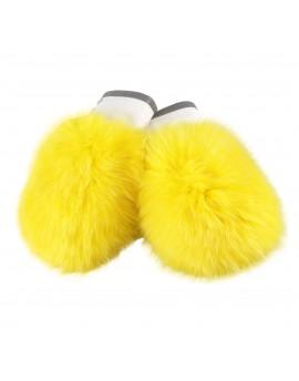 Skórzane rękawice Massa Knitted- żółty