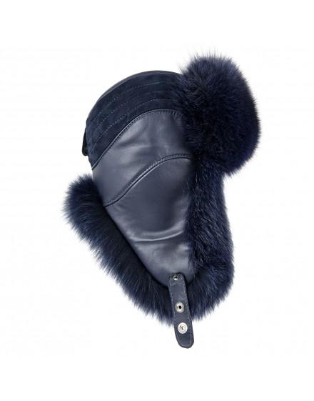 Skórzana czapka Colmar- niebieski